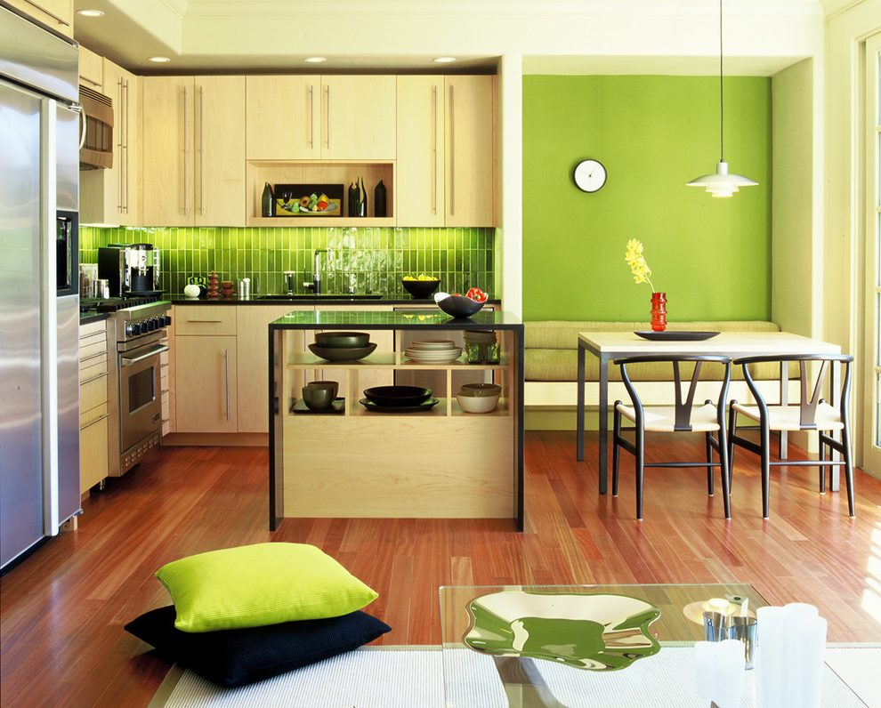 kitchen-greenery-kitchen-modern-with-black-chair-clock-display