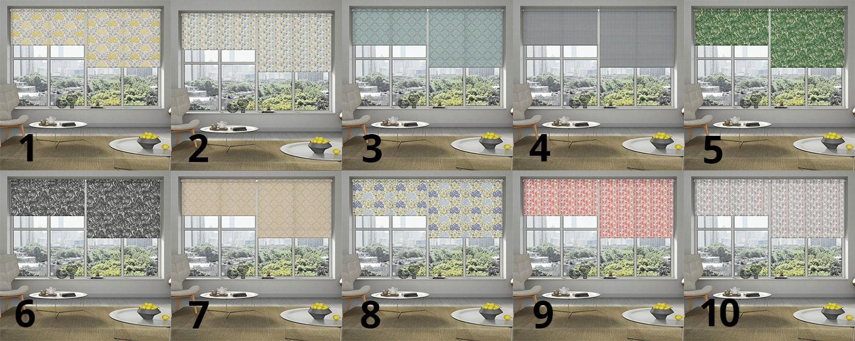 Patterned roller blinds for bedrooms